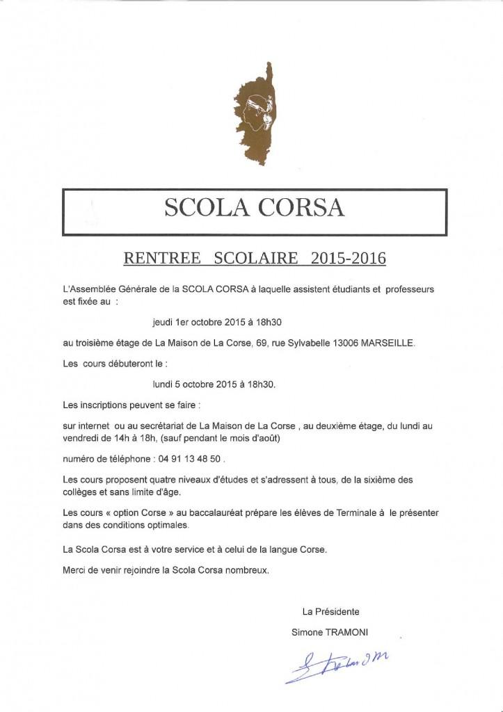 Scola corsa rentrée 2015/16